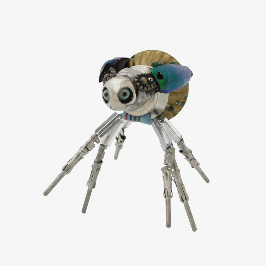 Bitty Bug: insect sculpture of recycled bits by clockwork-zero
