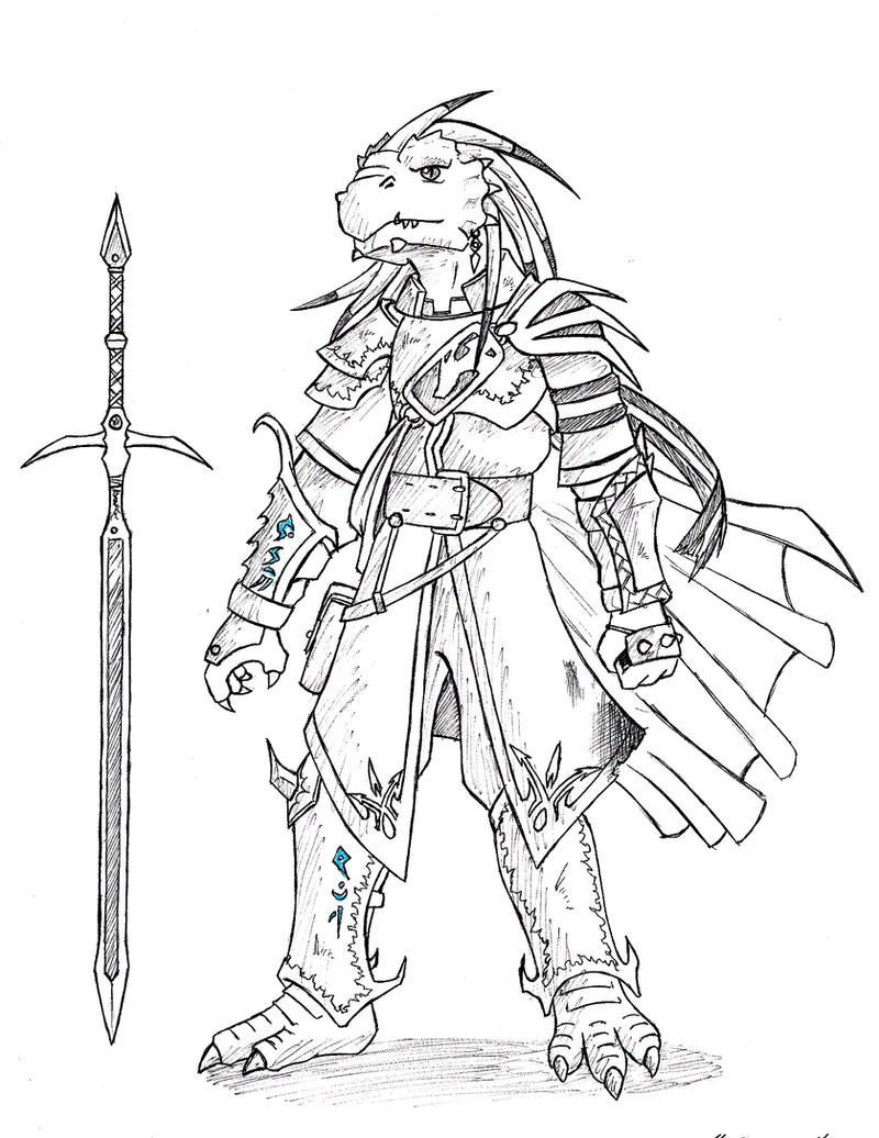 D Line Drawings : Dnd dragonborn hido by spirogs on deviantart