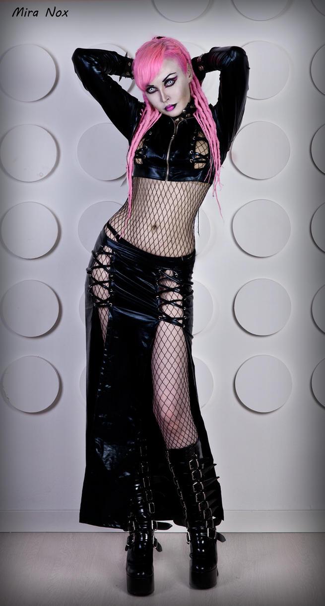04 mira nox pink hair dreadlocks vinyl cyber goth by MiraNox