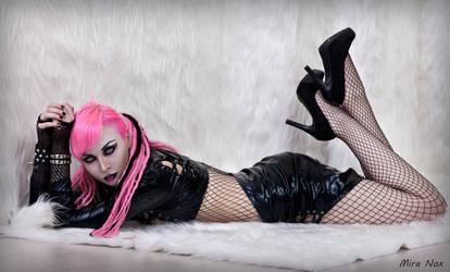 mira nox pink hair dreadlocks vinyl fetish sexy