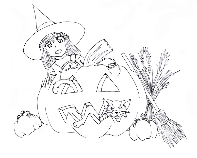 Line Art Halloween : Halloween lineart by himeko on deviantart