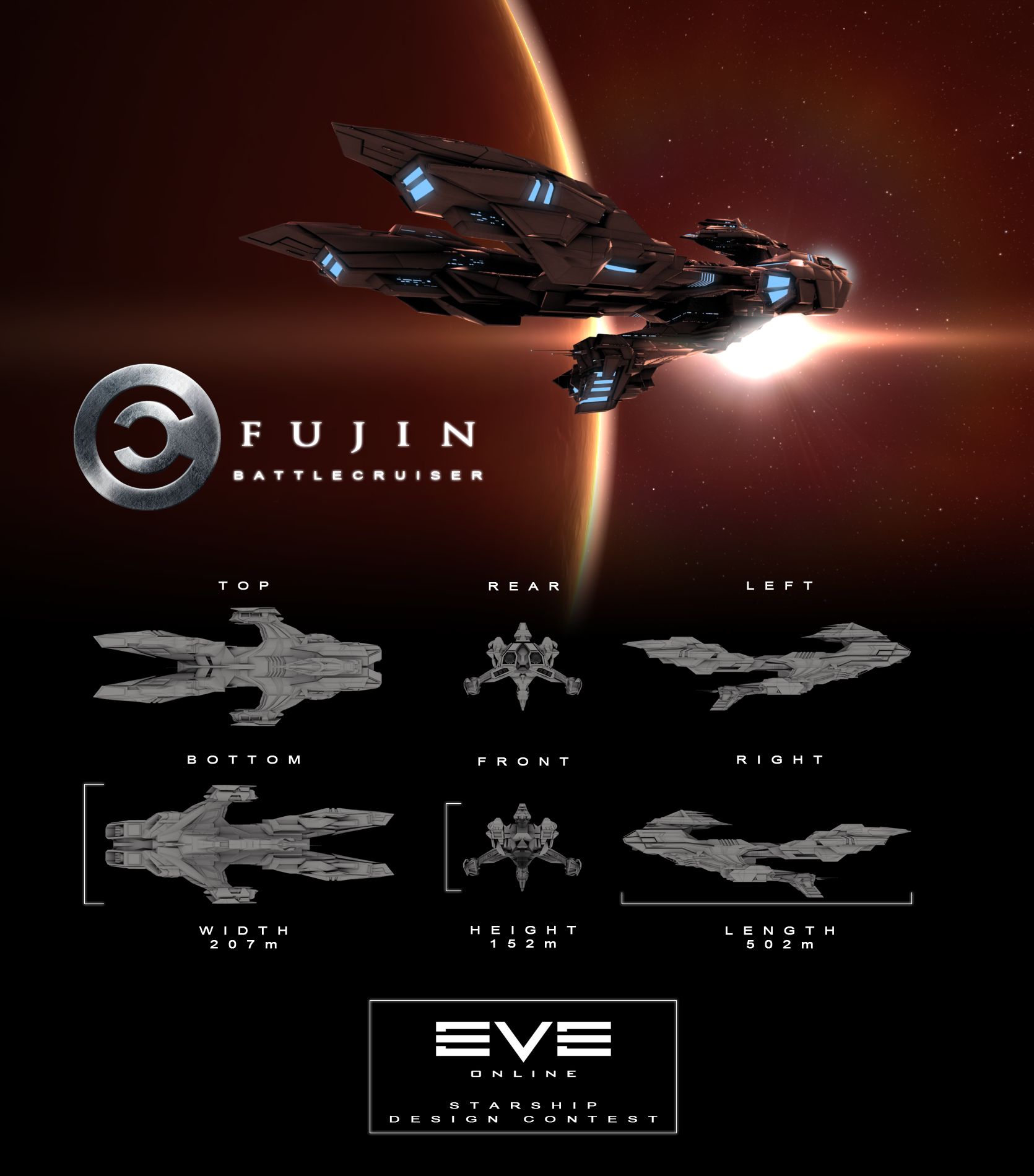Fujin Caldari Battlecruiser by DasaniWaters