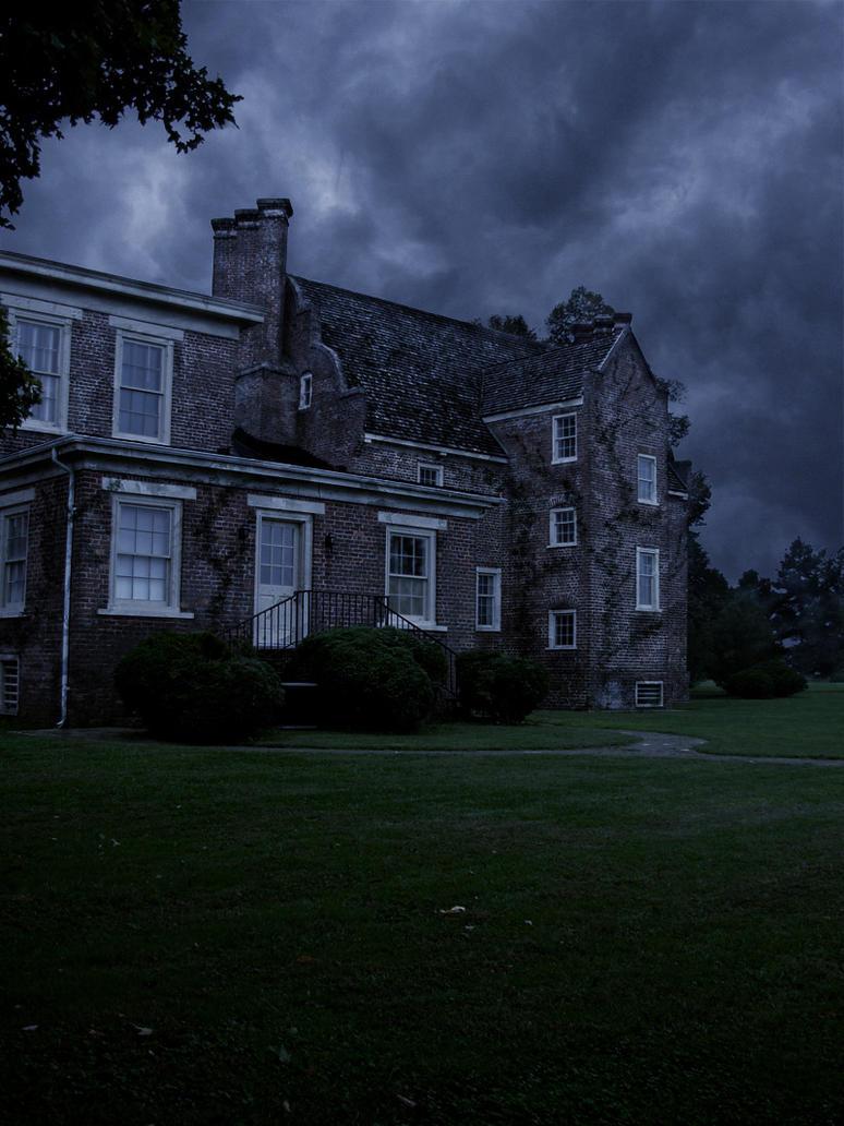 old mansion at night by thimic on deviantart. Black Bedroom Furniture Sets. Home Design Ideas
