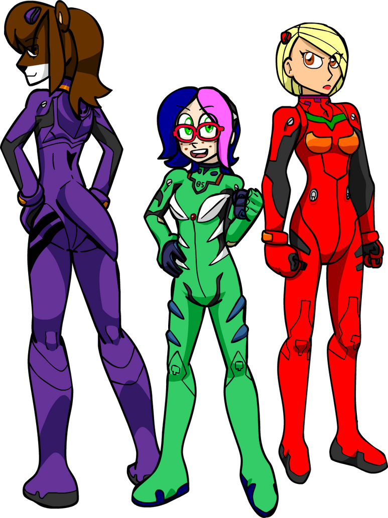 Plugsuit Trio (Character Colors) by Shennanigma