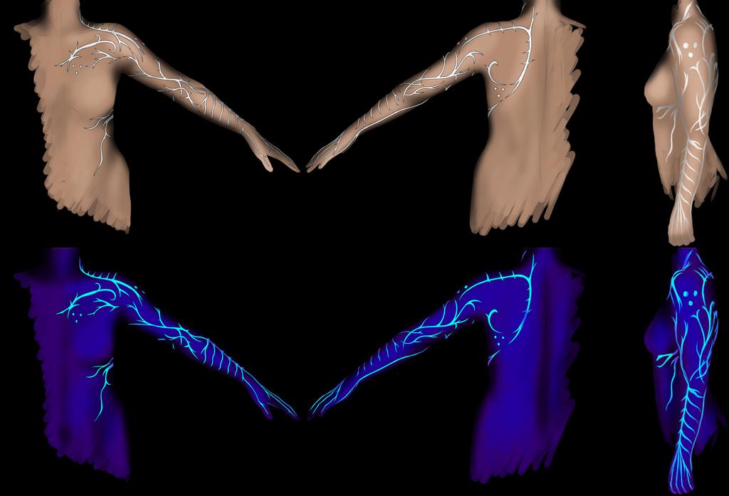 Fenris Lyrium tattoo by stickopotamu