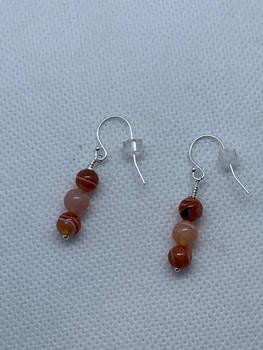 Sardonyx and orange Botswana Agate earrings