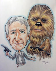 Han and Chewie caricatures