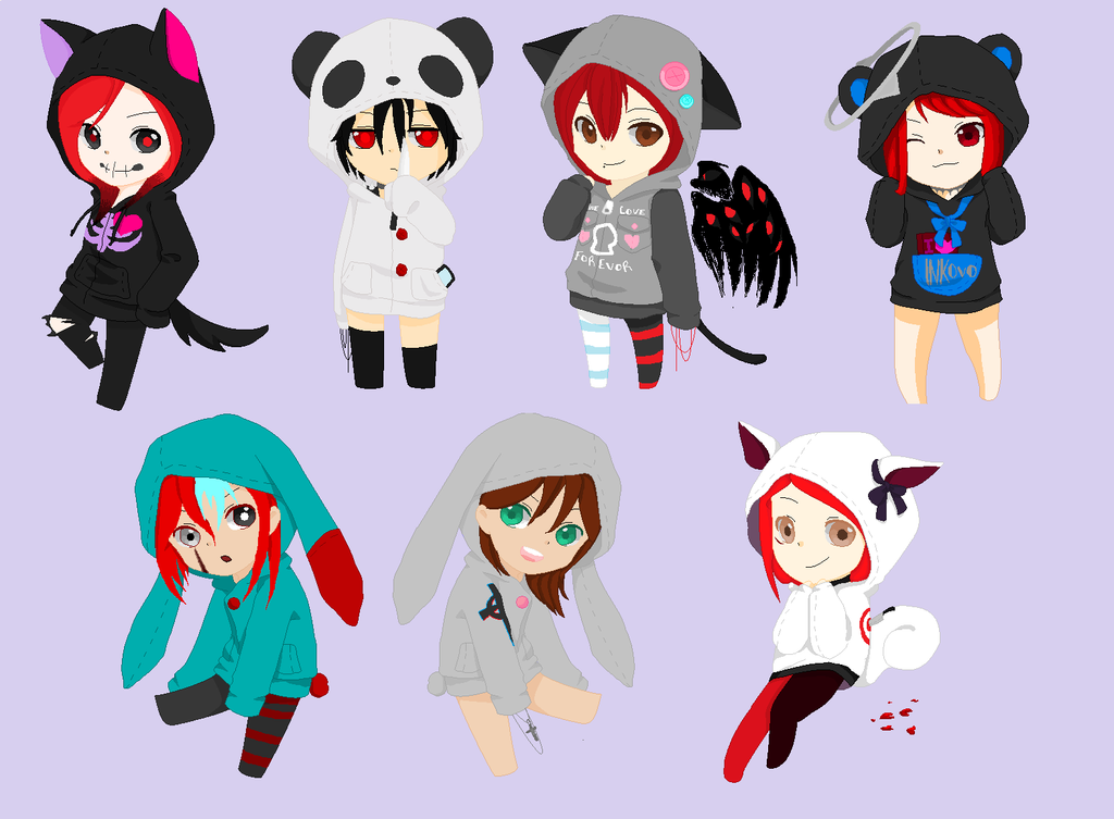 Cute Anime Hoodies Finsihed by Redo3o