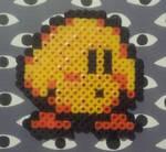Bead art - Yellow Kirby by ScaliePunk