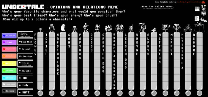 Undertale Opinions and Relations Meme Template