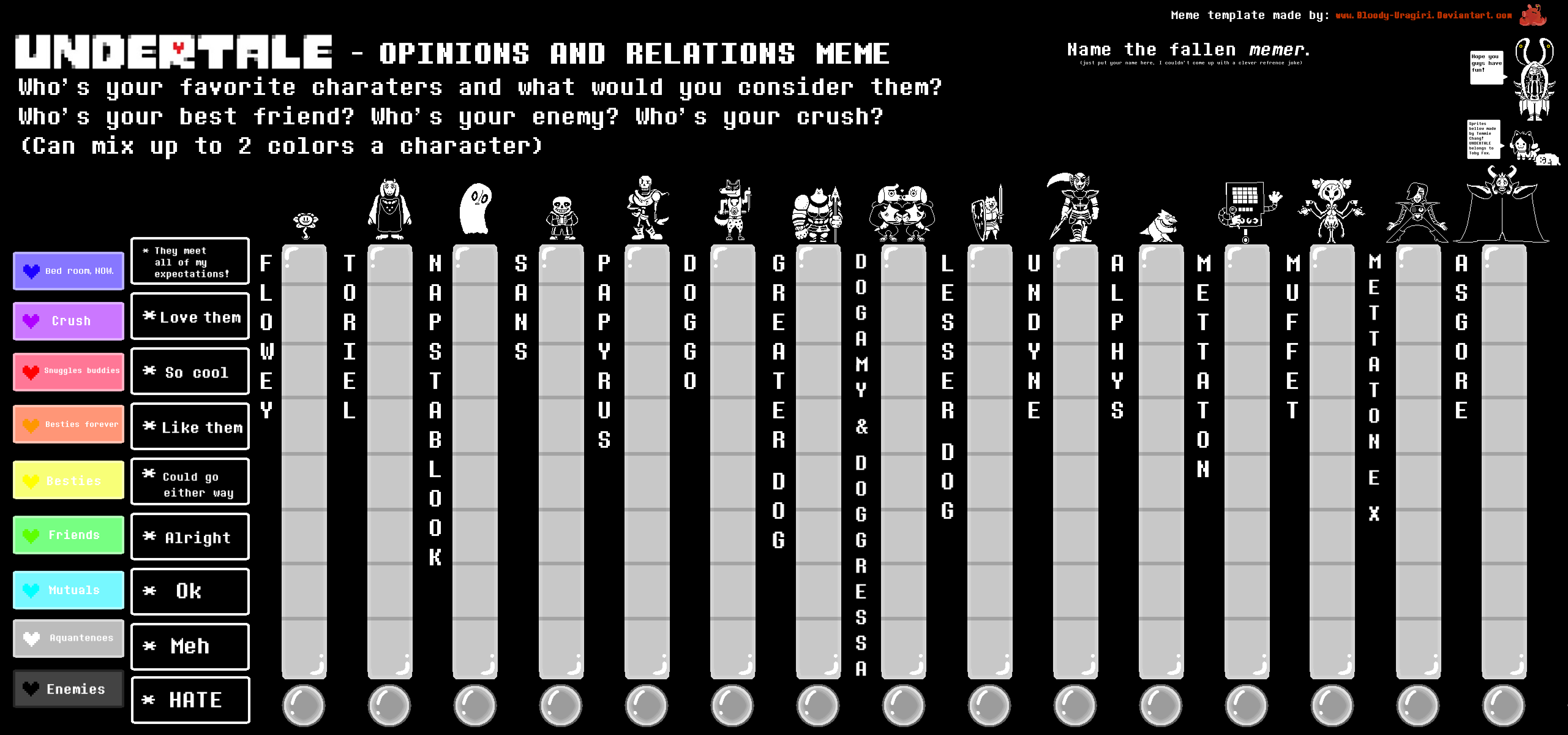 Undertale Opinions And Relations Meme Template By Bloody Uragiri On Deviantart