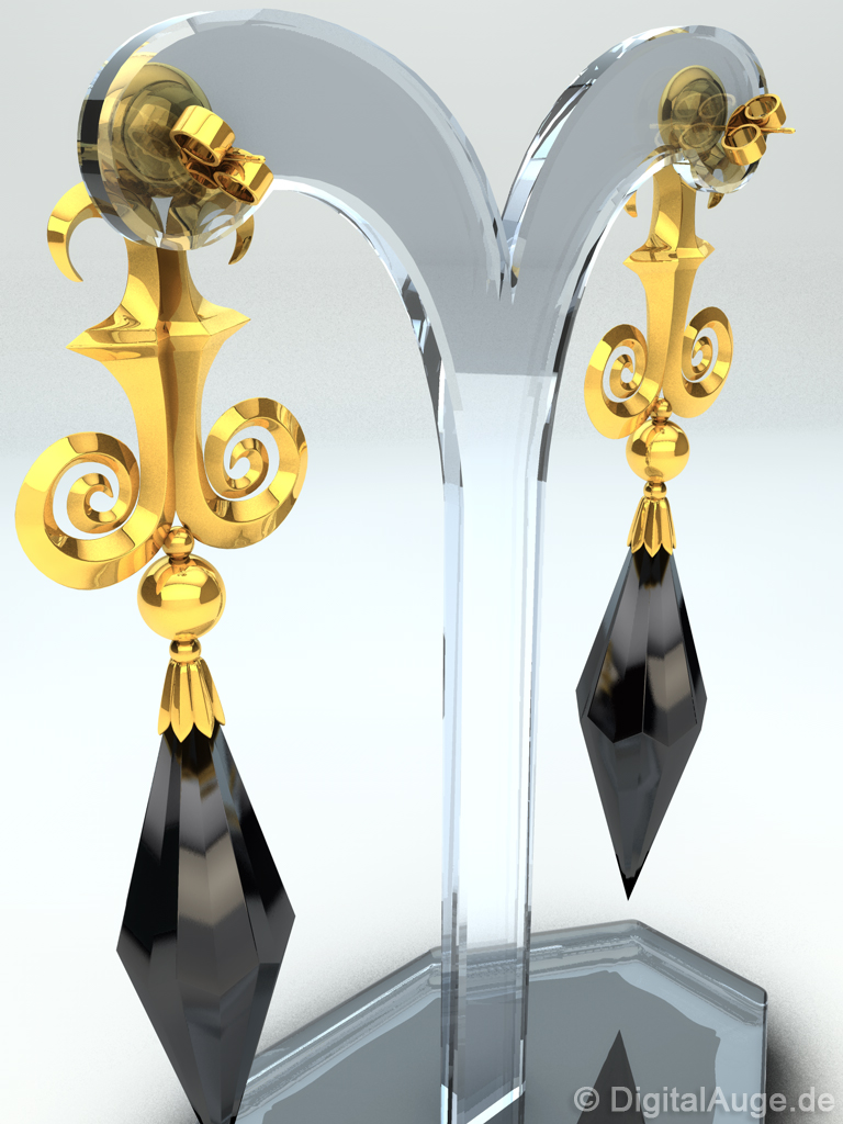 Top Black Moon Earring, Ohrstecker, Ohrring 3D by digitalAuge on  TC51