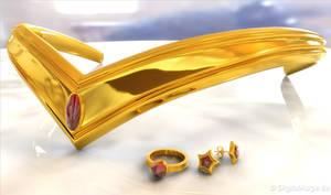 Sailor Moon Tiara - Diadem Gold 3D