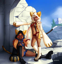 BlazeBlue - tora and taokaka by Barbariank