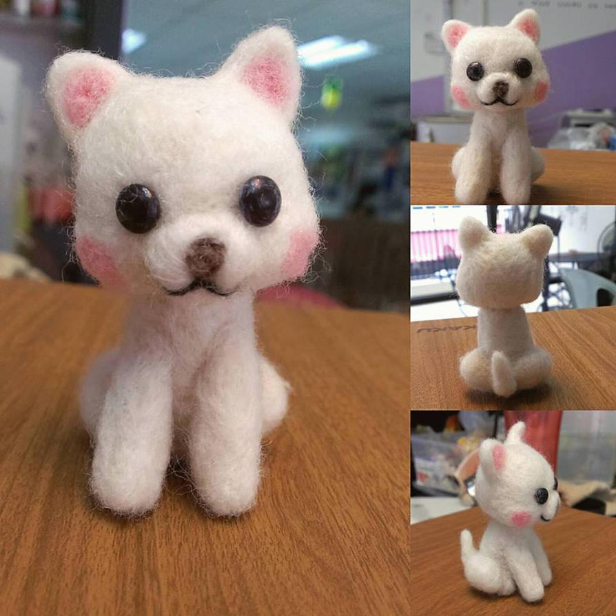 white puppy needle felting by creamypumpkin
