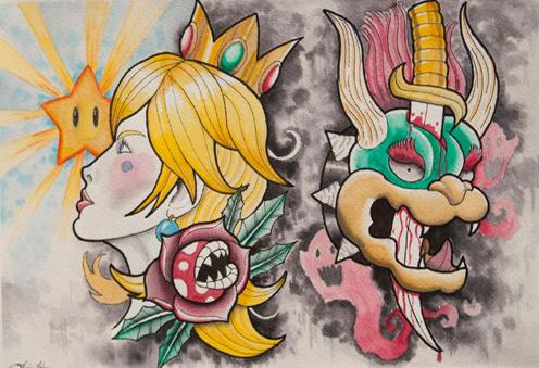 Bowser and Peach Tattoo Flash