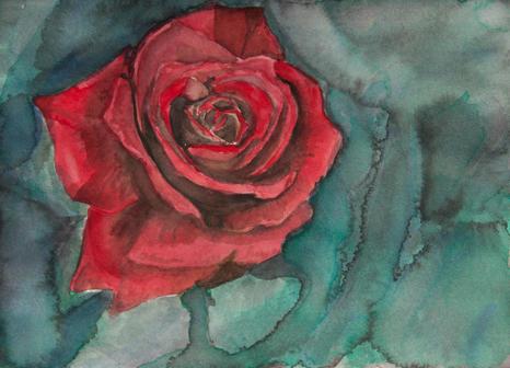 rose watercolor blue green