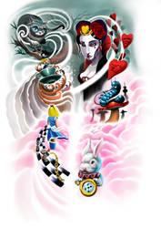 Wonderland Tattoo Design for Leg Wrap