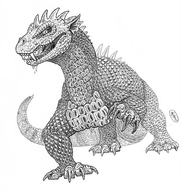 Kaiju sketch: Rhedosaurus by painted-wolfs-den