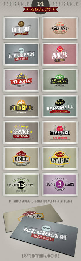 14 retro or vintage style signs (banners)