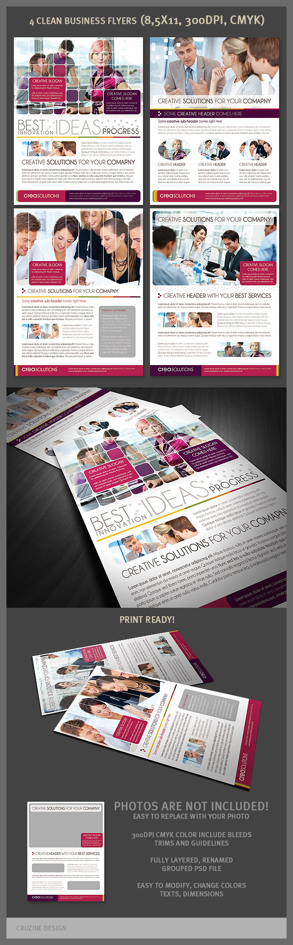 4 Clean Business Flyer Templates by hugoo13