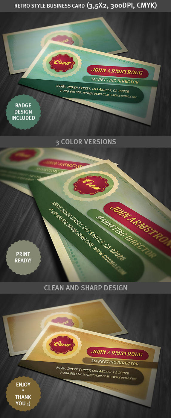 Retro Style Business Card Template by hugoo13