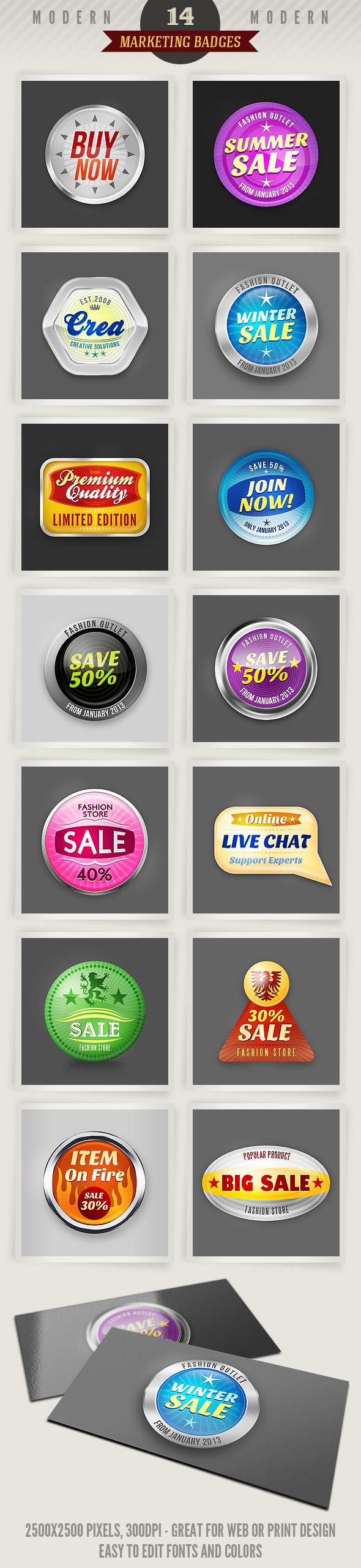 14 Modern Marketing Badges by hugoo13