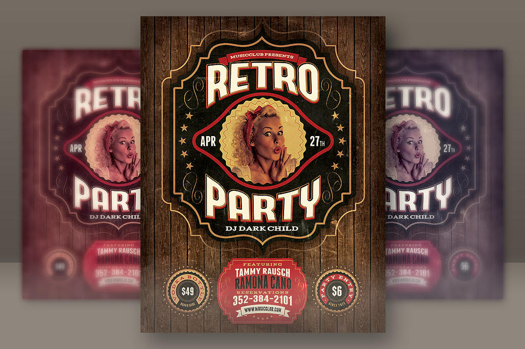 Retro Party Flyer Template By Hugoo On Deviantart
