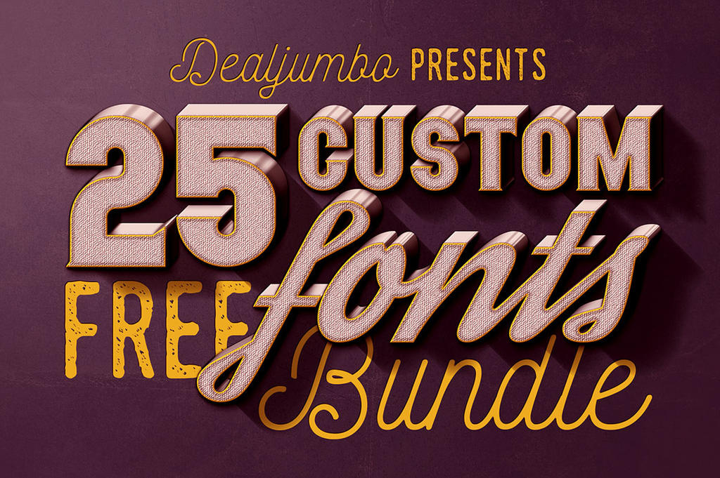 Dealjumbo Free Bundle vol.1: 25 Custom Fonts by hugoo13