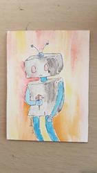 Sad robot. by kipplesnoof