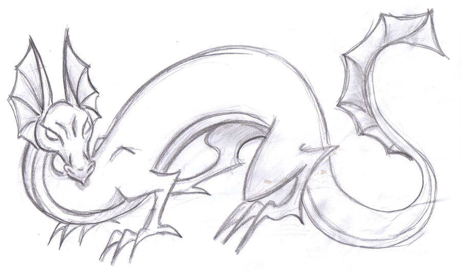 Dragon pencil sketch by kikisaur