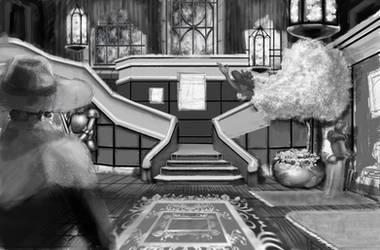 Creepy mansion by artlinerscum