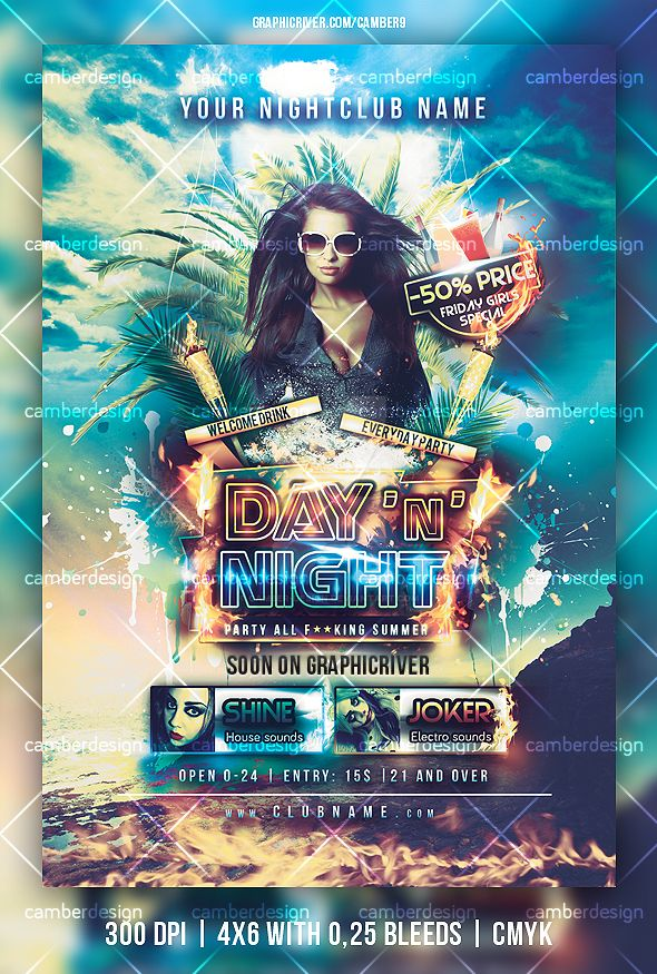 Day and Night, party flyer by camber-design