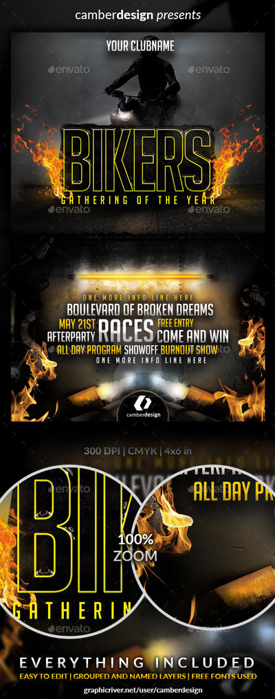 BIKERS GATHERING FLYER  - Buy on Graphicriver by camber-design