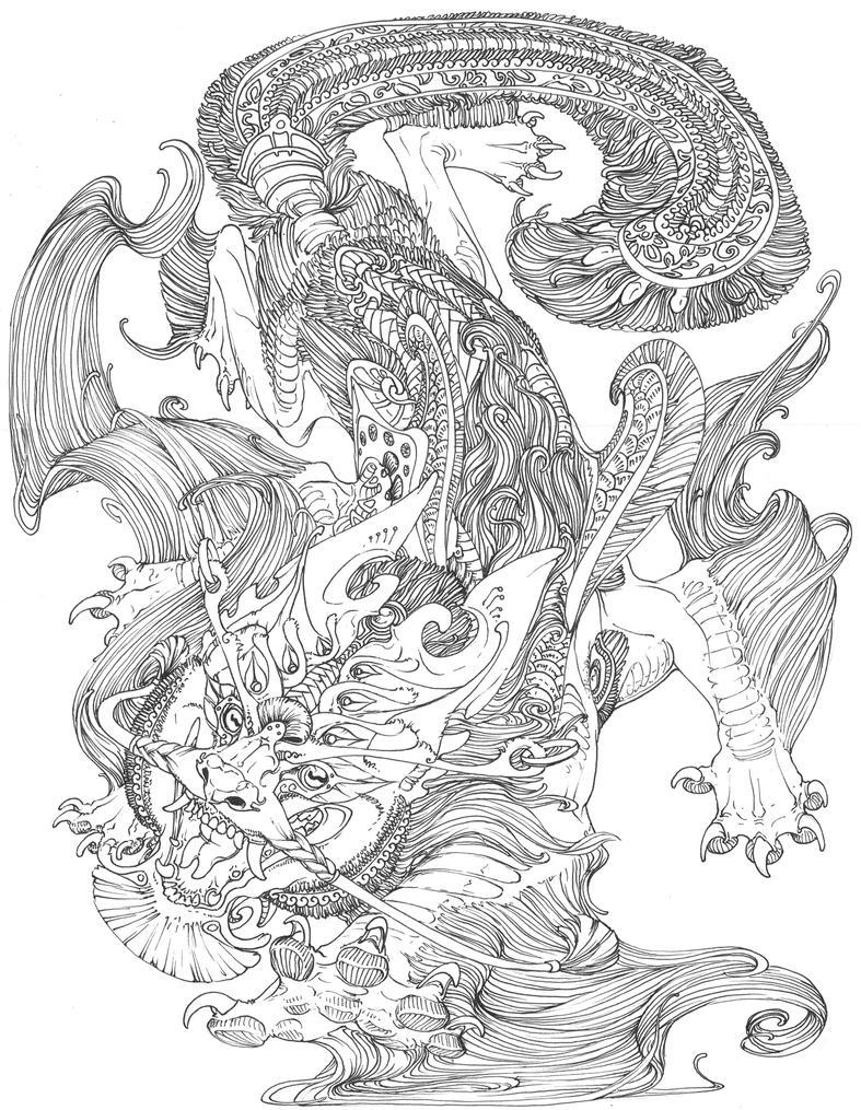 Fu Dog Lineart by Pythosblaze on DeviantArt