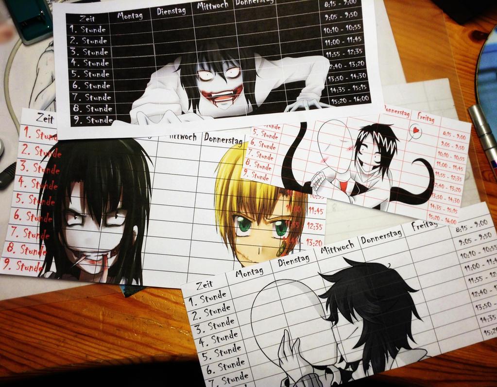 Creepypasta timetables by lushitasakabe
