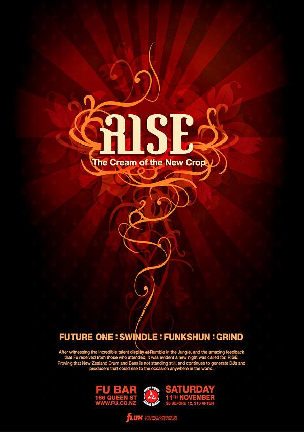 'Rise' Drum'n'Bass flyer by Crittz