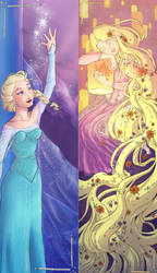 Elsa and Rapunzel bookmarks