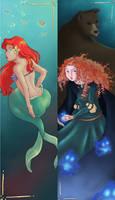 Ariel and Merida bookmarks