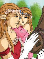 Queen Zelda with Daughter by summer1716