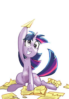 Twilight with a paper airplane