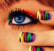 Crazy Colorful Zebra Nails by WWEdivalita