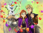 Frozen 2 - Anna, Kristoff, Sven And Olaf by HaNa-RaiWoRLD