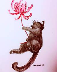 Flying flower kitty by MemoryFragment
