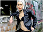 latex and leather collared bald girl by cliona-angel
