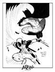 Inktober Deadpools vs Batman