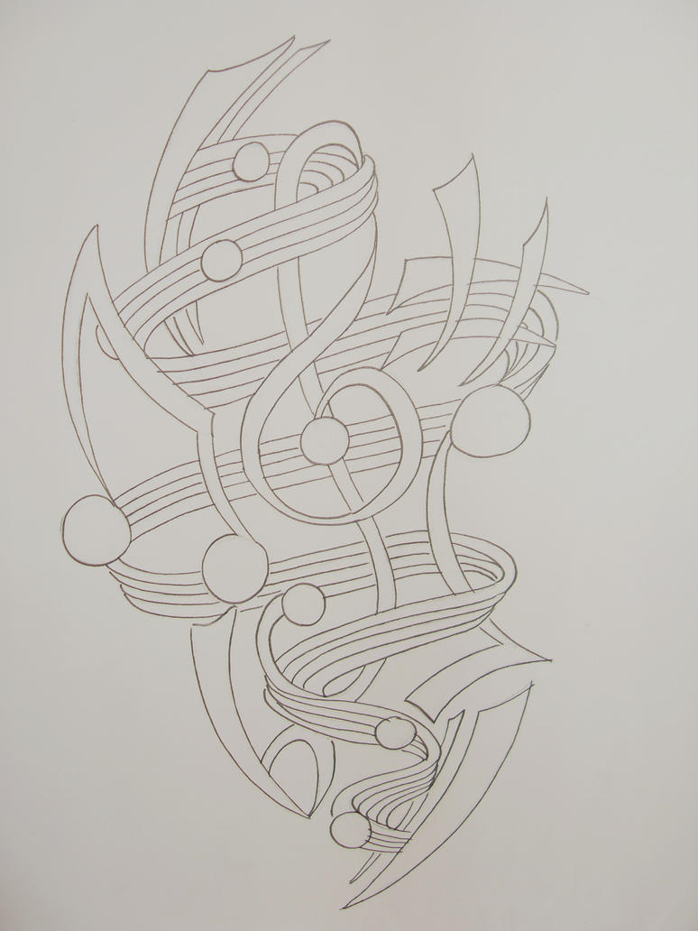 Music Tattoo Sketch Music Tattoo Outline by
