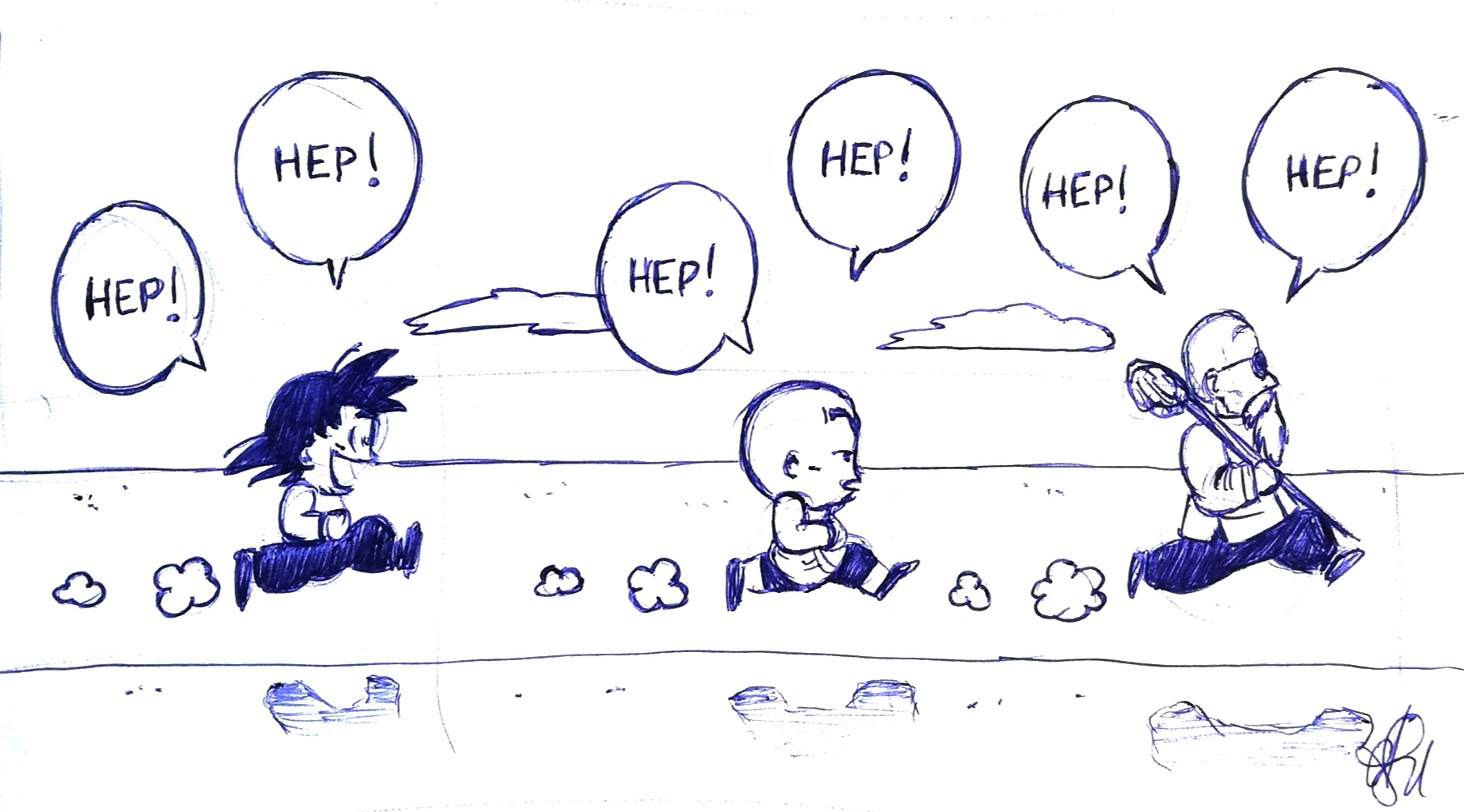 Fanart Sketch practice: Dragonball/Hep! Hep!