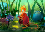 Mrs. Brisby Collecting Blueberries (commission) by EeviArt