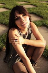 Rachel Dashae Sunset on the Grass by Temphis